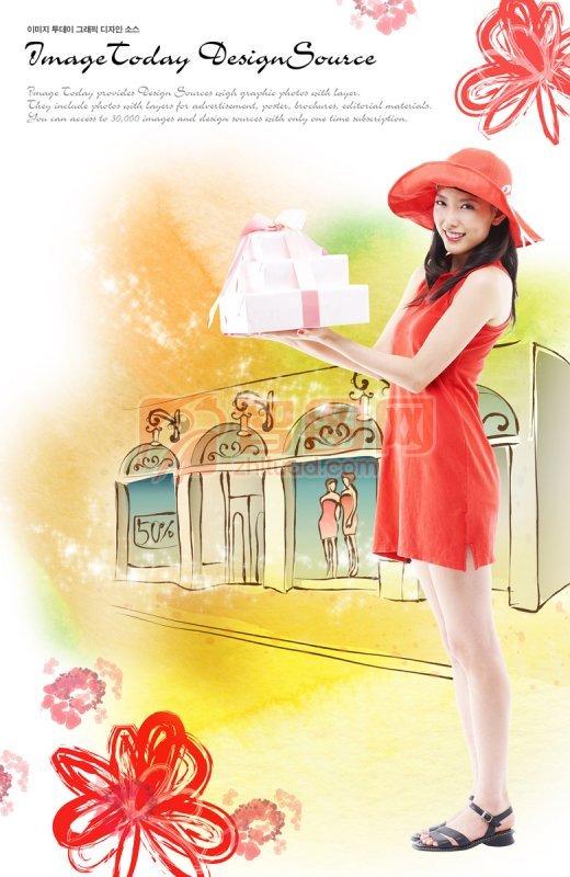 红衣美女设计