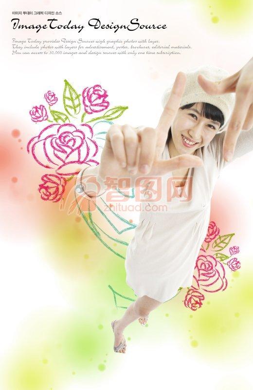 玫瑰花美女手绘