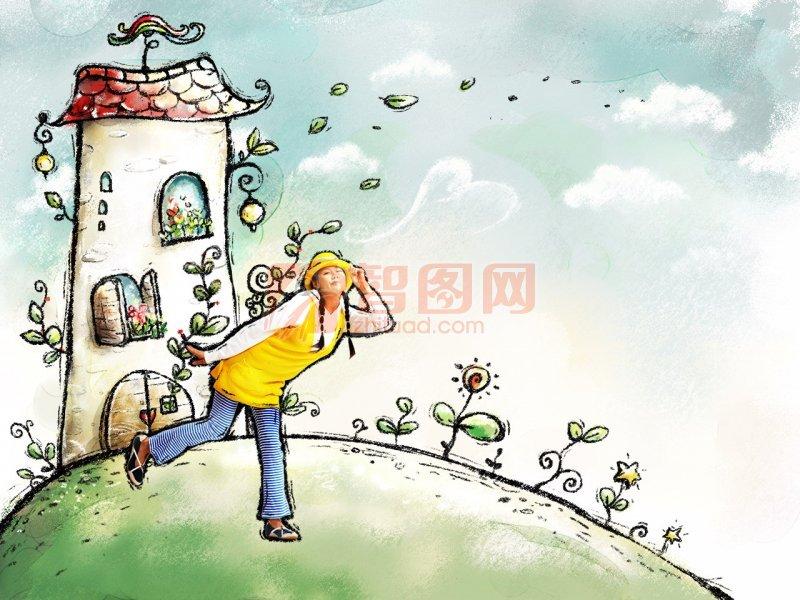 黄衣美女插画设计