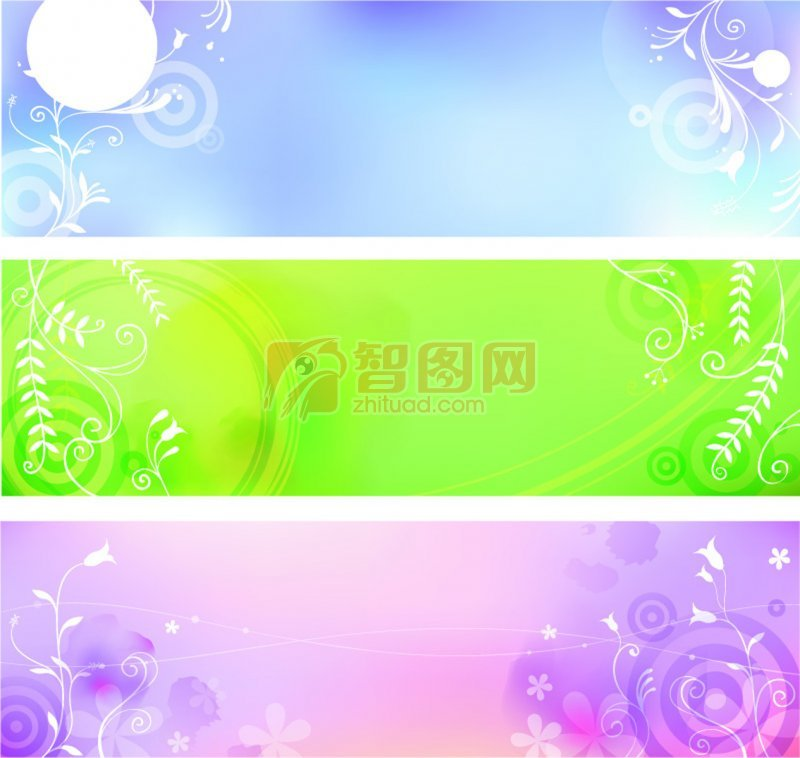 淡蓝色背景 淡蓝色主题 简约淡蓝色背景展板设计素材 绿色 白色花枝