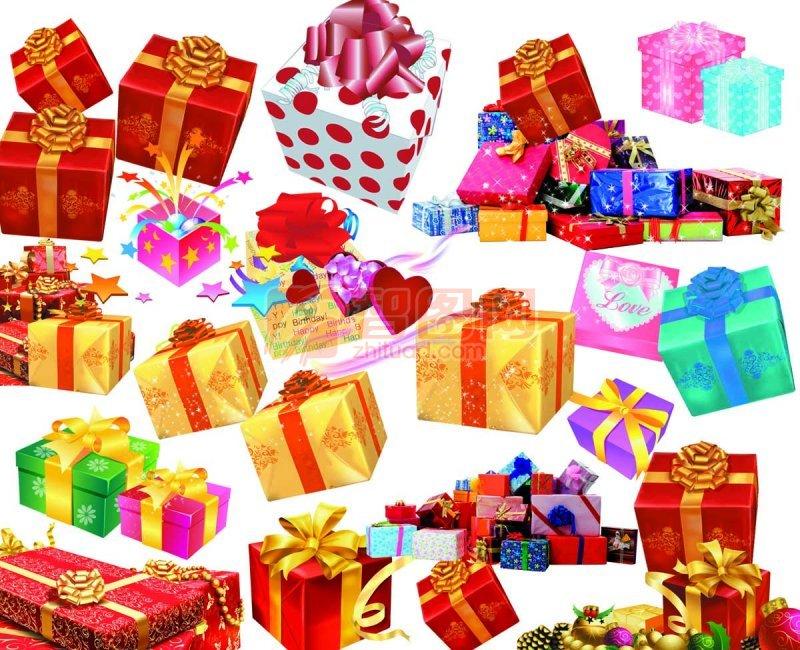 素材集 爱心礼品盒 礼品包装盒 情人节礼品 各种礼品盒 说明:高清礼品