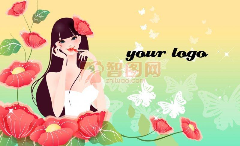 美女花纹背景名片设计