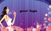 玫瑰花花纹背景名片设计