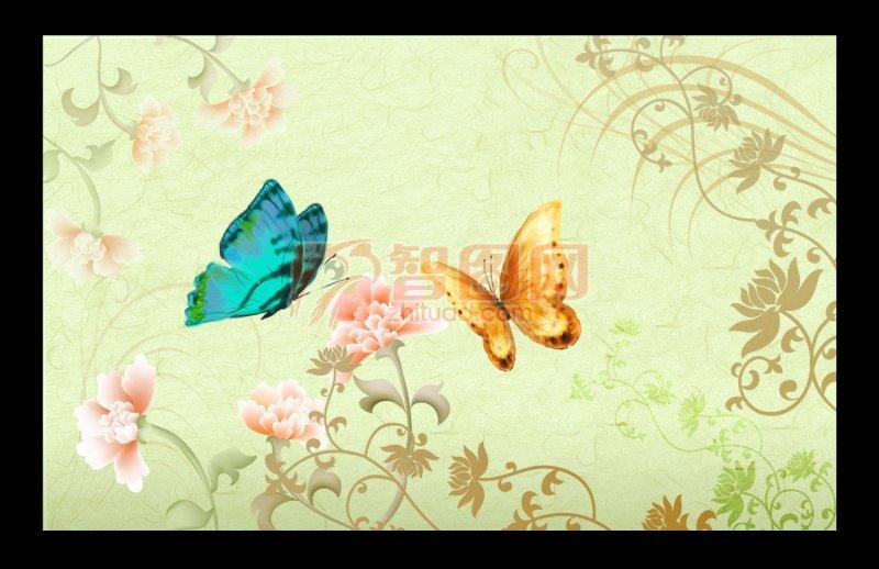 花纹背景 蝴蝶花纹 欧式花纹背景
