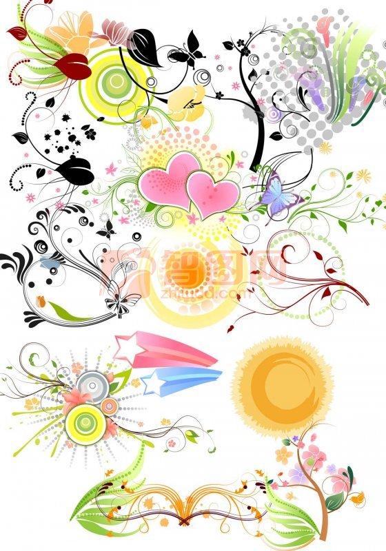圆形银杏叶花纹设计图案