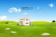 蓝天绿草地风景海报