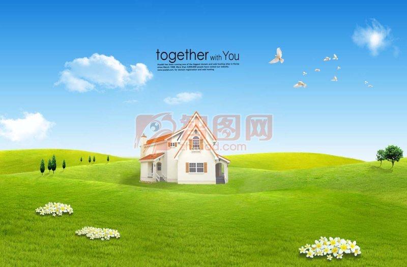 蓝天 白云 绿草 psd分层素材 源文件 说明:蓝天绿草地风景海报 房子