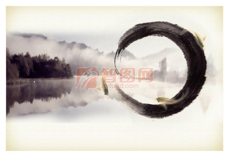 墨迹元素 中国风 水墨山水