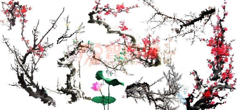 关键词: 中国风 水墨 水墨画 腊梅 梅花 荷花 古典墨水 绘画艺术