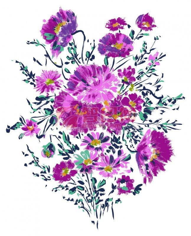 边框 花边花纹  关键词: 五彩花朵 水彩画 水彩画元素 蓝色花朵 紫
