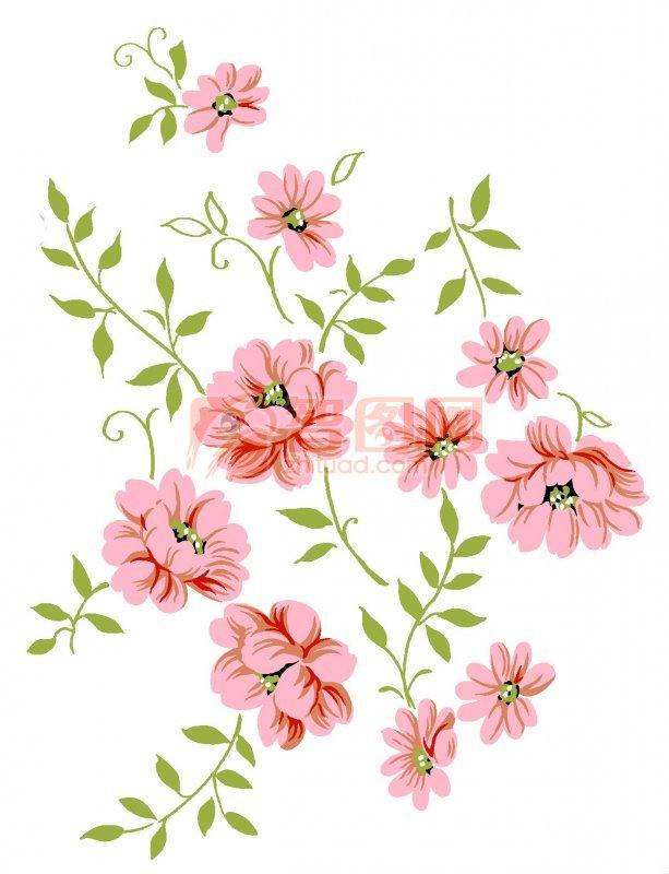 长条鲜花树叶图