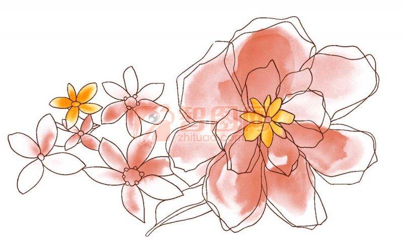 棕紅色花紋設計