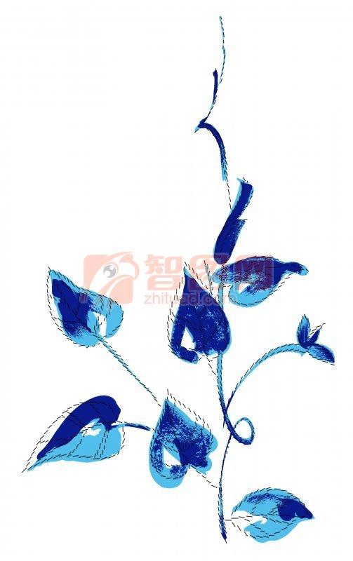 蓝色花纹素材