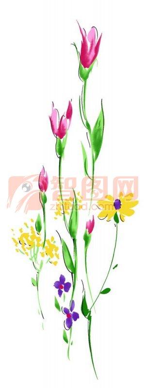 五色花朵花紋設計