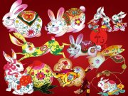 各種花紋兔子