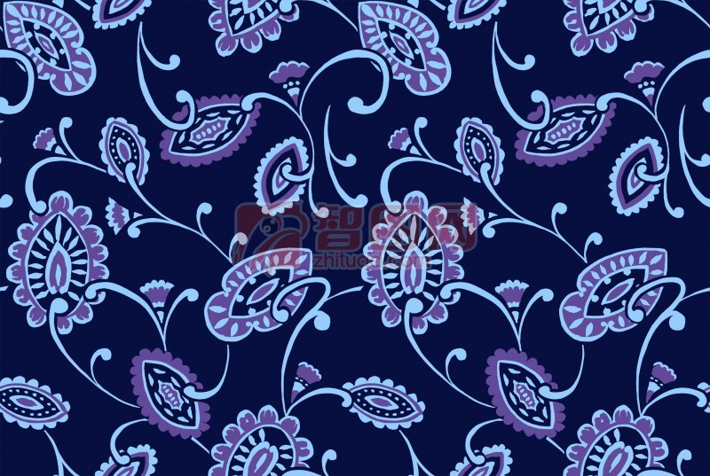 藍色花紋底紋背景