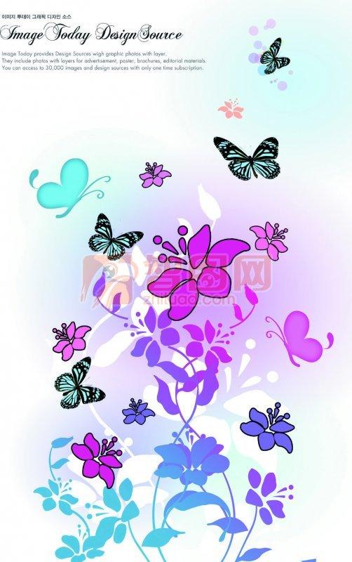 五色花纹素材