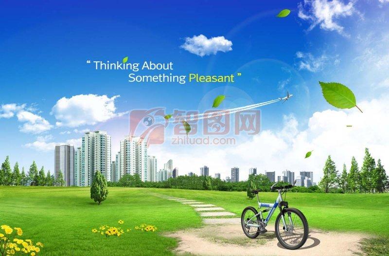 【psd】春天草地天空背景 平面设计素材