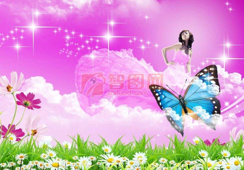 素材星光 蝴蝶 透明蝴蝶 高清蝴蝶 高清蝴蝶PSD分层图 蝴蝶花卉大全 鲜花 鲜花遍地 鲜花名片 好看的鲜花