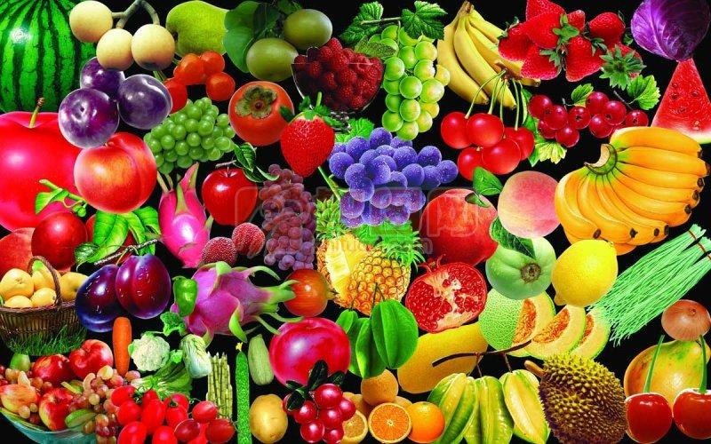 扣好的各类新鲜蔬果