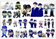 分層卡通警察