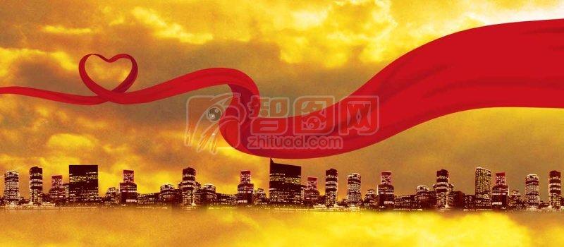 红飘带 爱心 飘动的红飘带