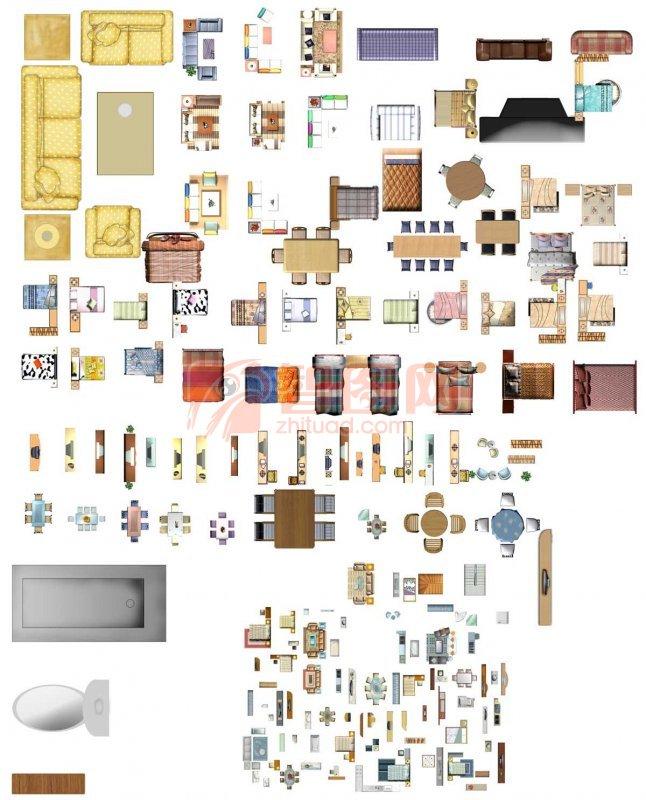 个人收藏室内彩色平面图素材