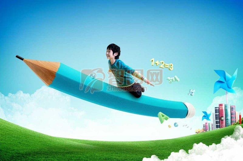 神笔马良 乘铅笔飞的儿童