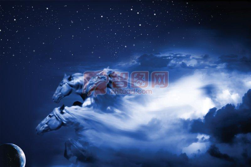 星星点点黑蓝色天空