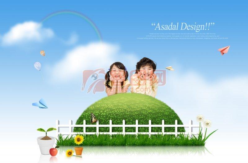 蓝天白云背景 蓝天白云绿草地 开爱的小孩 卡通 可爱卡通人物 人物