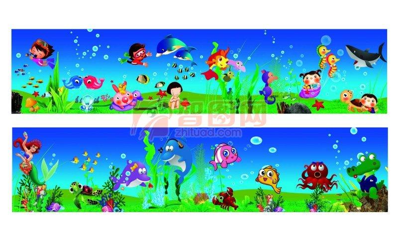幼儿园主题墙海底动物边框