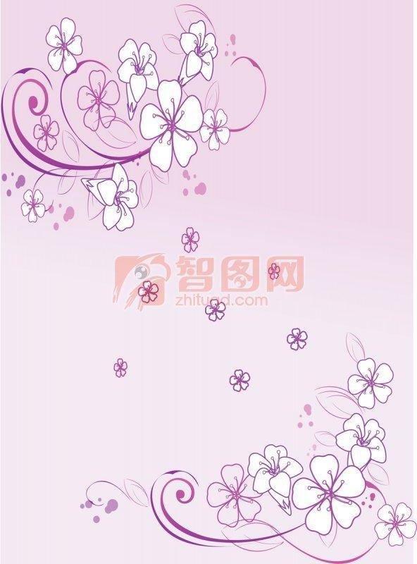 紫色花纹背景元素