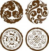 褐色花纹圆形图案 褐色花纹