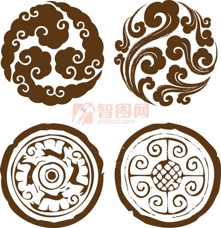 褐色花紋圓形圖案 褐色花紋