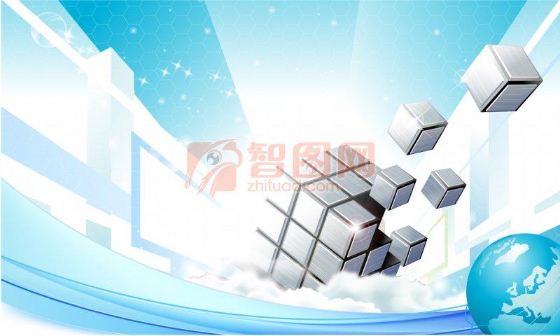 白色方塊素材 藍白色背景