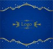 花邊花紋元素 藍色底紋設計素材