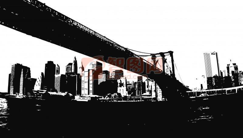城市建筑桥梁; 29款城市建筑剪影矢量素材;; 多款城市建筑剪影