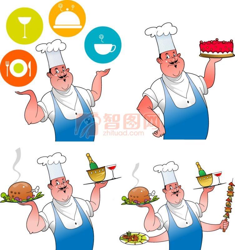 广告设计 海报设计  关键词: 厨师 漫画元素 红色蛋糕 鸡腿 西式汉堡