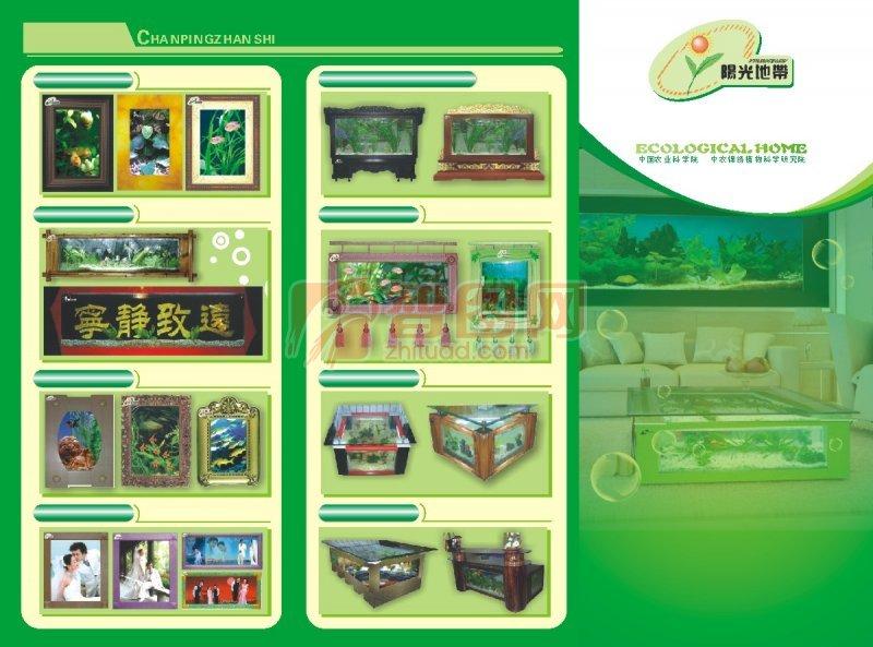 绿色背景 黄色元素 产品画册版式设计 产品画册版式素材 说明:-水族箱
