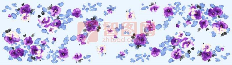 紫花蓝底花纹背景
