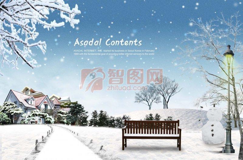 雪景风景 雪景 白色雪景 雪景元素 白色雪景素材 冬天的雪景素材海报