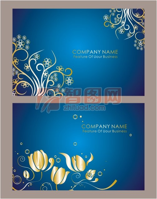 经典蓝色花纹背景