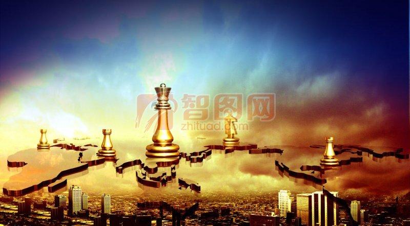 广告设计 海报设计  关键词: 西洋棋元素 黄色西洋棋 高楼素材 五大洲