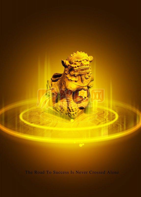 金色石獅子