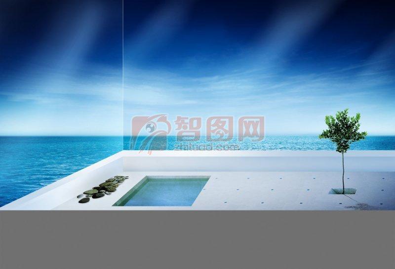 海报设计  关键词: 绿色树木 蓝色海洋 白色泳池 岩石元素 环保海报