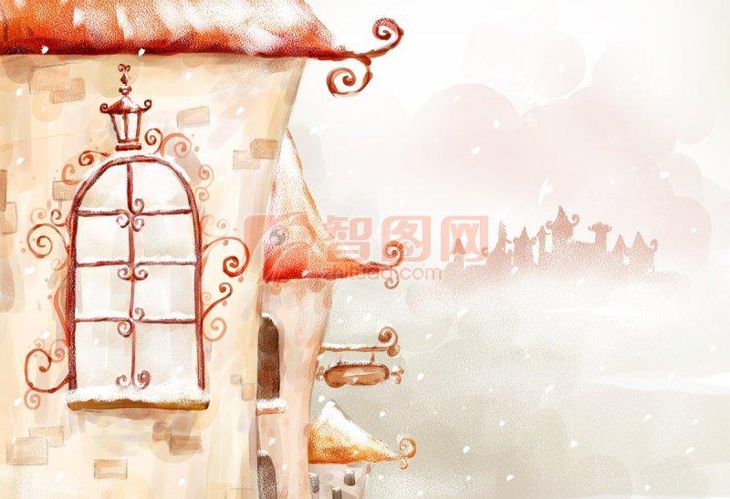 幼儿园卡通图片雪房子