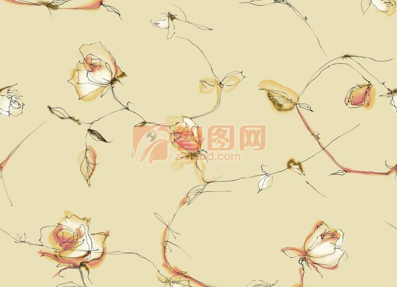 边框-肉色花卉水彩肌理纹样花纹背景底纹; 水彩背景; 【psd】简约花纹