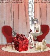 红色元素美术绘画