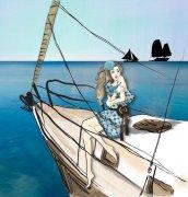 大海风情美术绘画