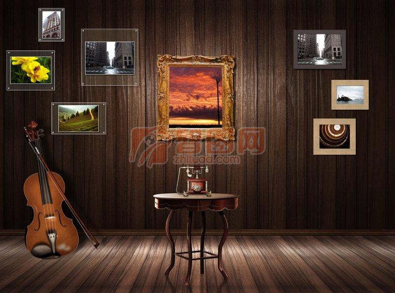 黑棕色背景室内设计